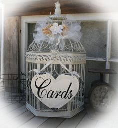 Large Wedding birdcage card holder by MerryMeSigns on Etsy, $49.99