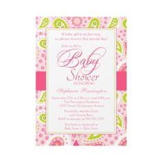 Pink and Green Paisley Baby Shower Invitation