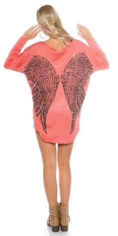 Coral Pullover mit Flügel und Strass Nieten am Rücken Shirt Top Gr.M