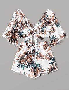 Tropical tie back top with pom pom trim shorts sold by Planas boutique . Shop more products from Planas boutique on Storenvy, the home of independent small businesses all over the world. Cute Comfy Outfits, Cute Girl Outfits, Cute Outfits For Kids, Cute Summer Outfits, Outfits For Teens, Pretty Outfits, Cool Outfits, Scene Outfits, Two Piece Outfits Shorts