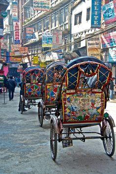 Rickshaws in Kathmandu, Nepal