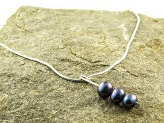 silver and pearl necklace with purple freshwater pearls €28 by LaPetiteMaisonBijoux