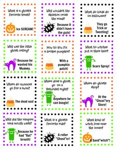 Printable Lunch Box Jokes To Bring a Smile At Lunchtime! Hallowen Jokes , Printable Lunch Box Jokes To Bring a Smile At Lunchtime! Printable Lunch Box Jokes To Bring a Smile At Lunchtime! Halloween Meme, Halloween Tags, Hallowen Costume, Holidays Halloween, Halloween Crafts, Happy Halloween, Halloween Party, Halloween Ideas, Halloween Teacher Gifts