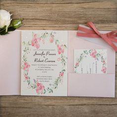 pink bohemian wreath pocket wedding invitations with gold glitter dots EWPI204