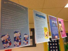 (promotie)poster over het lievelingsboek van de leerling uit midden/bovenbouw. Gemaakt in Word voor aankleding van de hal tijdens Kinderboekenweek