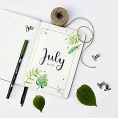 Looking for some amazing inspiration for your July welcome pages for your Bullet Journal? Well have a look at these! We have over 25 to fuel your inspiration Bullet Journal Leaves, Bullet Journal Title Page, Bullet Journal Lettering Ideas, Bullet Journal Notebook, Bullet Journal Inspiration, Journal Pages, Journal Ideas, Bullet Journel, Bullet Journal Aesthetic