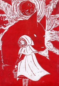 Little Red Riding Hood - Le Petit Chaperon Rouge - Elise Mcquaide. Little Red Ridding Hood, Red Riding Hood, Big Bad Wolf, Red Hood, Werewolf, Fairy Tales, Cool Art, Red And White, Illustration Art