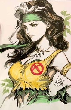 Drawing Marvel Rogue by Artgerm Comic Book Characters, Marvel Characters, Comic Character, Comic Books Art, Comic Art, Arte Dc Comics, Marvel Comics Art, Marvel Heroes, Anime Comics