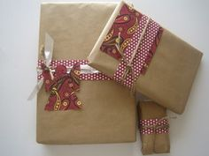 Christmas Gift Wrapping: my 2011 wrapping but using brown grocery bags was a mistake, too firm and didn't hold tape well