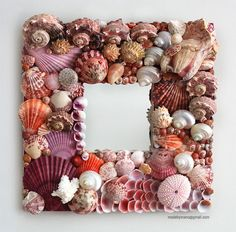 covered with seashells | Handmade seashell mirror covered in exotic pink shells - HORSESHOE BAY