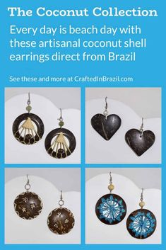 Coconut Shell Earrings | heart earrings, handmade earrings, coconut shell earrings, unique earrings, dangle earrings, black earrings, blue earrings, coconut earrings, sustainable fashion earrings, ecofashion earrings, brown earrings, hoop earrings #brazil #sustainablefashion #jewelry #ecofriendly #handmade #handmadejewelry #brazilian #handcrafted #earrings