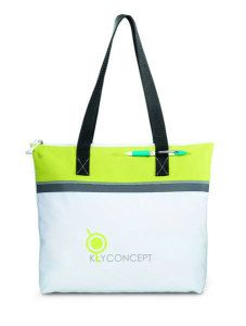 "Marina Convention Tote-Classic design and bright colors make this tote a standout Large capacity main compartment with zippered closure Pen loop 26"" shoulder straps"