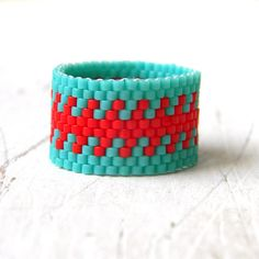 Hippie ring for women Wide band statement ring Size 9 band ring Wide beaded ring Modern seed bead jewelry Summer ring for women Beadwork Peyote Beading, Beadwork, Seed Bead Jewelry, Seed Bead Earrings, Beaded Jewelry, Women's Jewelry, Unusual Jewelry, Beaded Rings, Peyote Patterns