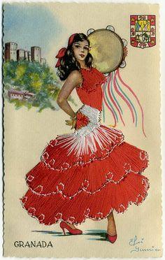 Perhaps a vintage postcard from Granada Spanish Gypsy, Spanish Dancer, Spanish Art, Tattoo Gitana, 40th Birthday Cards, Dress Card, Hat Crafts, Flamenco Dancers, Chicano Art