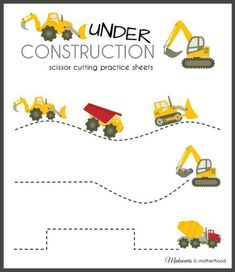 Construction Truck Scissor Cutting Sheets | Printable Practice Sheets for Kids | Makeovers and Motherhood