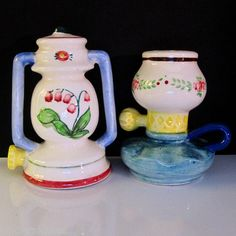 Old Fashioned Oil Hurricane Lamps Vintage s P Salt and Pepper Shaker Set