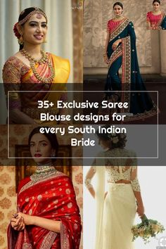 35+ Exclusive Saree Blouse designs for every South Indian Bride!- Eventila Wedding Sarees, South Indian Bride, Saree Blouse Designs, Sari, Fashion, Saree, Moda, Fashion Styles, Fashion Illustrations