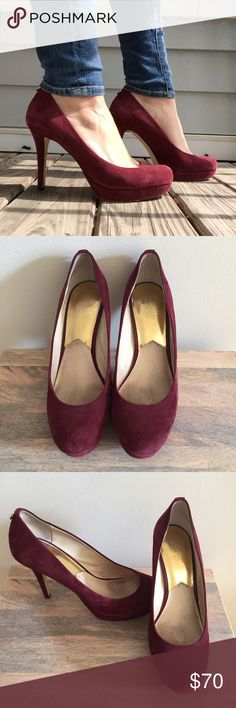 MICHAEL Michael Kors Wine Suede Pumps EUC A stunning pair of MICHAEL Michael Kors Wine Suede Pumps! Condition is excellent; no scuffs in the suede or damage to the heels. The red color is a gorgeous burgundy or Merlot that is perfect or fall, winter, or nights out! Best of all, they're totally comfortable! You need these lovely high heels in your life, and closet. True to size 10. MICHAEL Michael Kors Shoes Heels