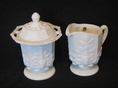 Westmorelandl Milk Glass Paneled Grape Lace Edged Sugar Bowl with Lid and Cream Pitcher, Set