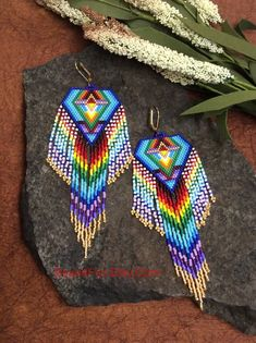 Seed Beaded Earrings Name: Dancing Barefoot Shoulder Hippie Style, Gypsy Style, Boho Style, Beaded Earrings Patterns, Crochet Earrings, Peyote Beading Patterns, Bracelet Patterns, Beaded Jewelry, Seed Bead Necklace