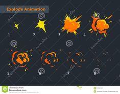 Explode effect animation stock illustration. Illustration of fire - 57701112