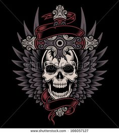 Winged Skull with Cross