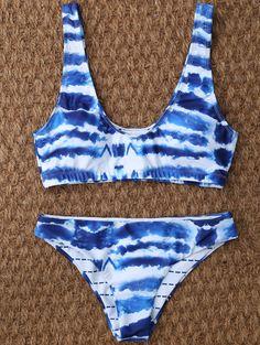 c7c6c8abe3  13.99 U Neck Tie Dyed Bikini Set - BLUE WHITE M Cute Bathing Suits