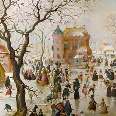 """Hendrick Avercamp (1585-1634 was a Dutch painter. Avercamp was born in Amsterdam, where he studied with the Danish-born portrait painter Pieter Isaacks.  As one of the first landscape painters of the 17th-century Dutch school, he specialized in painting the Netherlands in winter. Avercamp's paintings are colorful and lively, with carefully crafted images of the people in the landscape. (Wikipedia)  (""""Skaters Near the Castle"""" by Hendrick Avercamp)"""