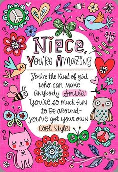 You're the Niece Families Dream About Birthday Card Birthdays happy birthday niece Happy Birthday Niece Messages, Birthday Quotes Kids, Birthday Cards For Niece, Birthday Wishes For Boyfriend, Happy Birthday Girls, Happy Birthday Greeting Card, Happy Birthday Images, Card Birthday, Aunt Birthday