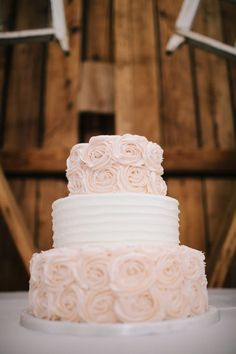 Gorgeous and simple blush rosettes, The Windmill Winery, Barn Wedding Arizona  So excited for our tasty wedding cake!