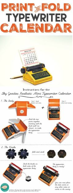 2016 Calendar | This free printable 2016 calendar will tickle the creative side! Print and Fold Typewriter with monthly date cards from SkyGoodies Etsy boutique. Get your free download from TodaysCreativeLife.com