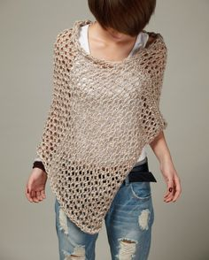 Hand knit Little cotton poncho Wheat sweater top от MaxMelody