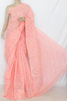 Peach Hand Embroidered Allover Tepchi Work Lucknowi Chikankari Saree (With Blouse - Cotton) 14353