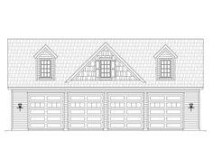 062G-0051: 8-Car Garage Plan Offers 4 Tandem Bays
