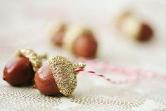 1 set of golden acorns ornament by staceywinters on Etsy
