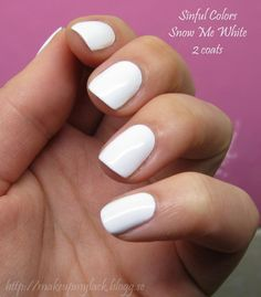 Sinful Colors - Snow Me White. Awesome opaque white nail polish