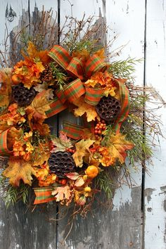 Fall Wreath Leaves Berries Lotus pods by sweetsomethingdesign, $75.00