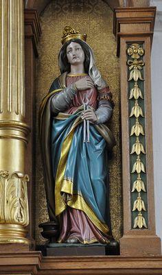 St Agatha of Siciliy | http://saintnook.com/saints/agathaofsicily/ | Wolpertswende St Gangolf Marienaltar Hl Agatha.jpg