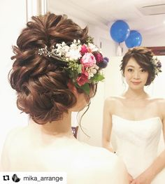 いいね!285件、コメント22件 ― satomiさん(@saaatm_88)のInstagramアカウント: 「* #sato_429wedding #sato_maedorirepo 実加さんヘアメイク まさに理想通り✨…」 Wedding Hair And Makeup, Wedding Beauty, Wedding Hair Accessories, Bridal Makeup, Bride Hairstyles, Messy Hairstyles, Mother Of The Bride Hair, Bridal Hair Inspiration, Bridal Hairdo