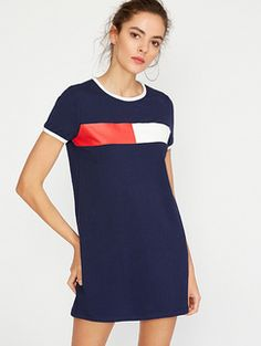 ROMWE Navy Contrast Trim Printed Short Sleeve Tee Dress Found on my new favorite app Dote Shopping #DoteApp #Shopping
