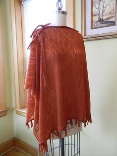 Rust Color Fall Poncho Italian Fabric Blend Of Wool by Olimpias