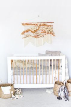 woven wall hanging in nursery | Baby Crib: 3 Ways | Oh Happy Day! | Bloglovin'