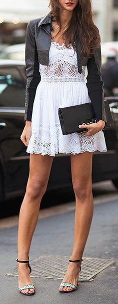 #street #fashion Leather + Lace @wachabuy