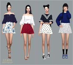 Skater Mini Skirt v2_스케이터 미니 스커트 패턴 버전_여자 의상 | SIMS4 marigold