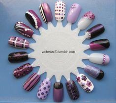 Purple Nails- I like the designs. :)