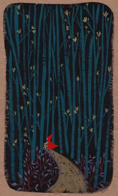 Little Red Riding hood goes deep into the woods, Ellen Surrey #illustration