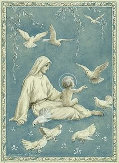 'Morning Blessing' - Madonna and Child with doves (blue and white design). The virgin mary and the baby jesus feed birds. Christmas card