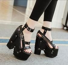 Women's Platform Hollow out Sandals Creeper Chunky High Heels Zippers Shoes Size