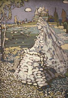 The Bride (Russian Beauty in a Landscape) – Wassily Kandinsky, 1903 Franz Marc, Russian Beauty, Russian Art, Russian Style, Russian Folk, Tempera, Cavalier Bleu, Collages, Blue Rider