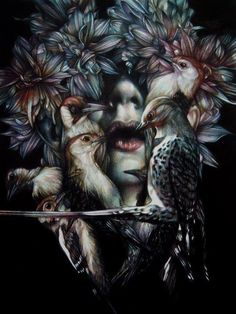 Marco Mazzoni, N/A  This work shows Mazzoni's use of layering both color, and compositional elements to create a cohesive drawing, you can distinguish a clear foreground, middle ground, and background based on composition and color in the birds, woman, and flowers